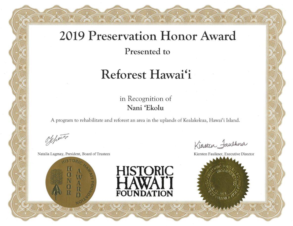 2019 Preservation Honor Award - Reforest Hawaii